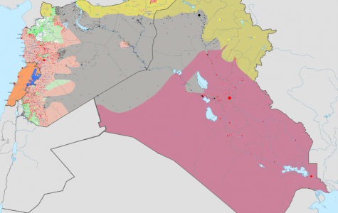 This map, dated September 4th, 2015, shows ISIS' military position in Syria, Lebanon, and Iraq.  Courtesy Wikimedia Foundation and BlueHypercane761.   CC BY-SA 4.0