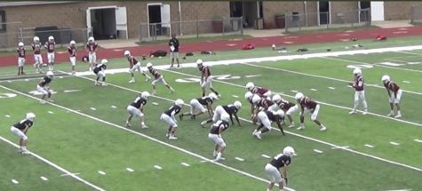 The University School Football team faces off in an inter-team scrimmage